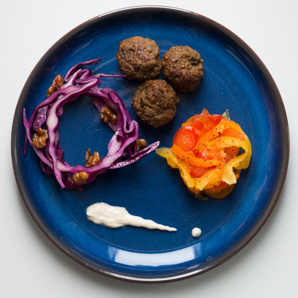 Sweet and Spicy Meatballs with Tricolore Pepper Salad and Walnut Cabbage 0658