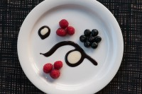Berries with Black and White Sauce